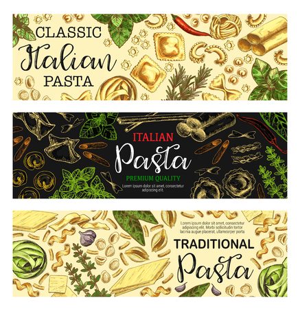 Pasta banners with traditional macaroni shapes. Spaghetti, penne and farfalle, fusilli, rigatoni and fettuccine, lasagna, ravioli and conchiglie, cannelloni, herbs and spice sketches