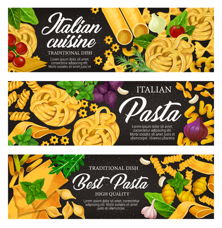 Italian cuisine traditional pasta food. Spaghetti, penne and farfalle, fusilli, lasagna and fettuccine nest, cannelloni, conchiglie and noodle with tomato, basil and garlic 스톡 콘텐츠 - 108571326