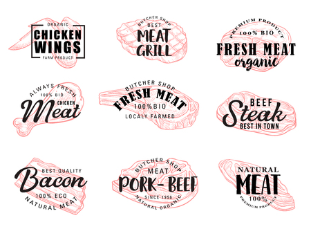 Meat food icons with hand drawn calligraphy lettering. Beef and pork steak, chicken leg and wings, bacon and ham sketches. Vector butcher shop label and grill restaurant symbols