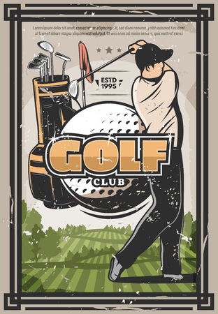 Golf player with ball, club bag and flag banner. Golf sport club retro poster. Golfer doing swing at green course. Sporting competition or tournament vintage vector design