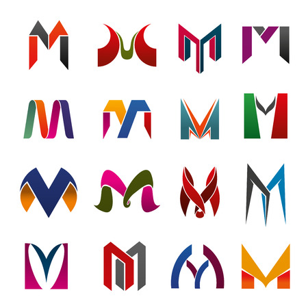 Vector letter M icons made up of ribbons and abstract figures. Modern vector corporate identity symbols for business design, emblem and label theme