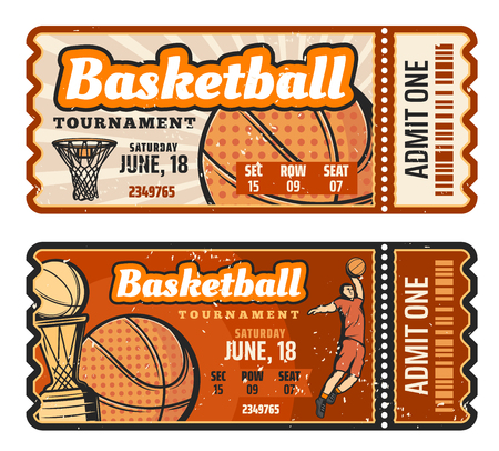 Basketball match retro ticket, sport game competition. Basketball ball, basket, champion trophy cup and player elements. Sport game, tournament or championship invitation. Vector design