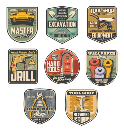 Repair tool shop retro badges with construction equipment and instrument. Pliers, drill and toolbox, tape measure, wallpaper and hacksaw, shovel and wheelbarrow symbols for hardware store design