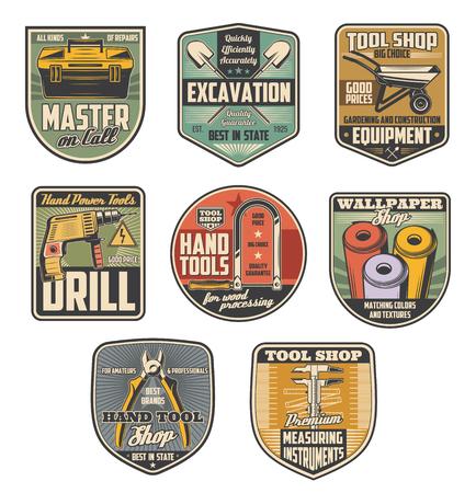 Reparatie gereedschapswinkel retro badges met bouwmachines en instrument. Tang, boor en gereedschapskist, meetlint, behang en ijzerzaag, schop en kruiwagen symbolen voor ijzerhandel ontwerp