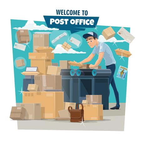 Bureau de poste, facteur et courrier. Mailman tri enveloppe de lettre, colis et boîte de livraison, colis, correspondance et journal sur convoyeur. Service de livraison de courrier, image vectorielle