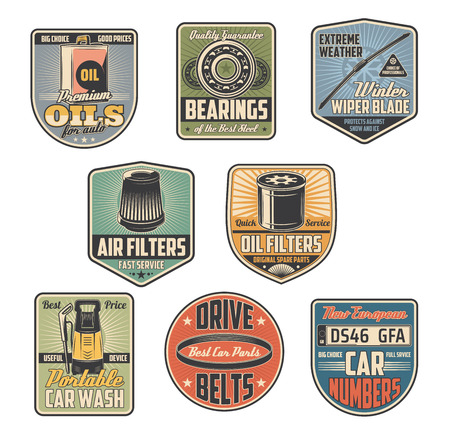 Car service and auto repair part shop vector retro icons. Vehicle motor oil, air filter and automobile number plate, car wash, drive belt and bearing old symbols. Garage and mechanic workshop theme