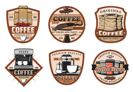Coffee drink and bean vintage icons. Espresso, cappuccino or latte hot beverage cup and mug, coffee machine and pot retro vector symbols and icons Ilustração