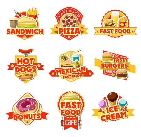 Fast food restaurant and cafe icons. Burger, hot dog and sandwich, pizza, fries and soda, donut, coffee and ice cream, cheeseburger with ribbon banners and stars. Vector food package theme