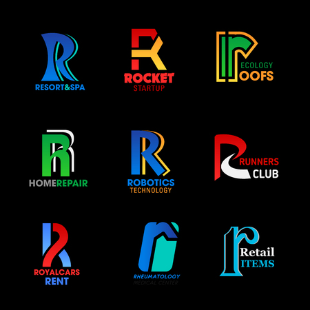 Vector etter R business icons corporate identity templates. Sport club, construction and medicine, transportation service, ecology and repair company symbols