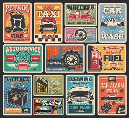 Car service retro grunge cards for transportation and auto repair garage themes design. Vintage signboard for car washing, tire fitting and motor oil shop, gas station, auto painting and taxi service Stock Illustratie