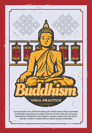 Buddhism religion retro grunge poster with ancient statue of Asian and Indian god. Sitting golden Buddha vintage banner with buddhist prayer wheel and endless knot ornament for yoga practice design Standard-Bild - 108571337