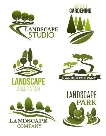 Iconos de diseño de paisaje, estudio de paisajismo y tema de empresa de jardinería. Planta de árbol verde y césped de símbolos de parque para planificación de jardines, mantenimiento de plazas de la ciudad y servicio de jardinería. Vector Ilustración de vector