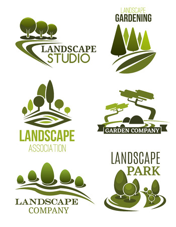 Landscape design icons, landscaping studio and gardening company theme. Green tree plant and lawn of park symbols for garden planning, city square maintenance and landscaping service. Vector Stock Illustratie