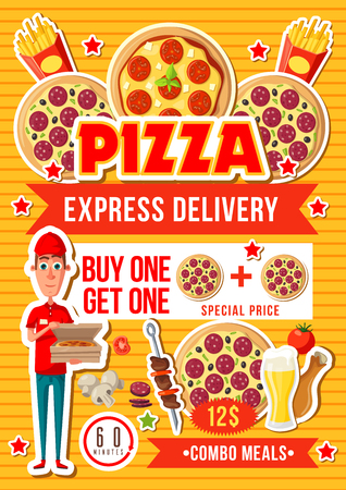 Fast food pizza delivery, combo meals special offer. Vector salami, cheese and tomato pizza, fried chicken leg, french fries and drinks. Fastfood restaurant or pizzeria design
