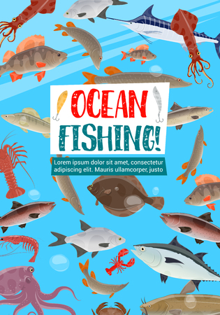 Ocean fishing, fish and seafood animals in sea water. Salmon, tuna and crab, blue marlin, perch and lobster, octopus, shrimp and carp, flounder, catfish and squid. Fishing sport vector design