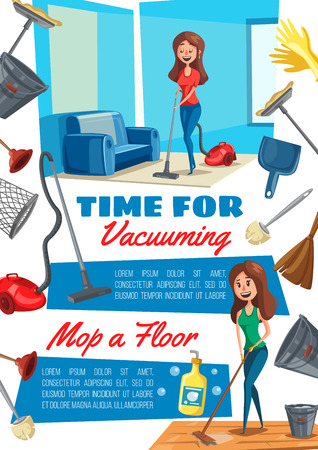 Housework, house cleaning tools and equipment. Housewife cleans floor with vacuum cleaner and mop banner, edged with mop, brush and bucket, broom, detergent bottle, gloves and cup plunger. Vector