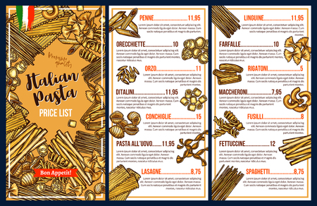 Italian pasta menu template with price list. Spaghetti, penne and farfalle, fusilli, fettuccine and rigatoni, linguine and lasagna sketches. Mediterranean cuisine vector restaurant menu