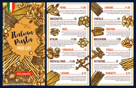 Italian pasta menu template with price list. Spaghetti, penne and farfalle, fusilli, fettuccine and rigatoni, linguine and lasagna sketches. Mediterranean cuisine vector restaurant menu