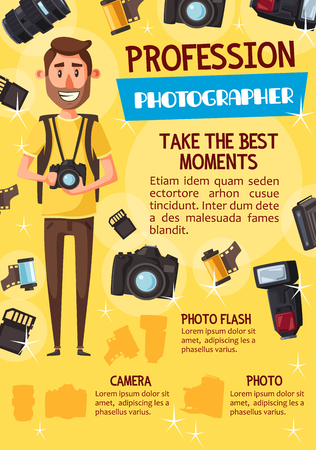 Professional photographer with photo camera, photography profession theme. Young man journalist, surrounded by digital camera, flash and lens, memory card and photo film. Vector