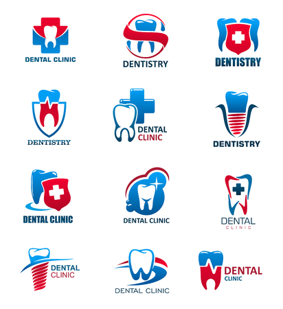 Dentistry medicine icons, dental clinic and tooth health design. Teeth and implant, protected by shield with cross, heartbeat line and shining star isolated symbols. Health care vector design Illustration