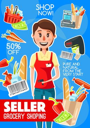 Supermarket cashier or grocery seller banner for retail store profession design. Shop assistant with cash register, laser scanner and bar code, money, shopping basket and paper bag packages