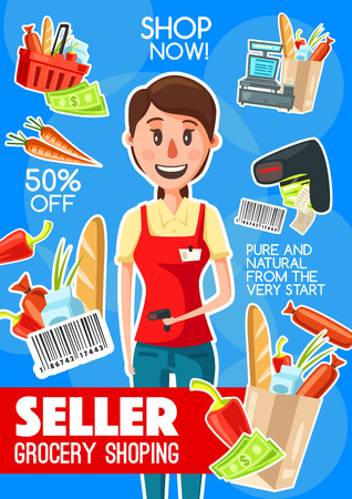 Supermarket cashier or grocery seller banner for retail store profession design. Shop assistant with cash register, laser scanner and bar code, money, shopping basket and paper bag packages