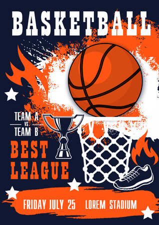 Basketball championship league match banner. Ball, basket, champion trophy cup and boots, decorated with stars and fire flame. Sport game competition theme design Vettoriali