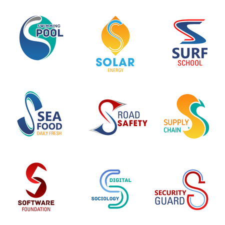 Business icons of letter S. Food, transportation and eco energy, sport, software and security company corporate identity or branded vector emblem templates