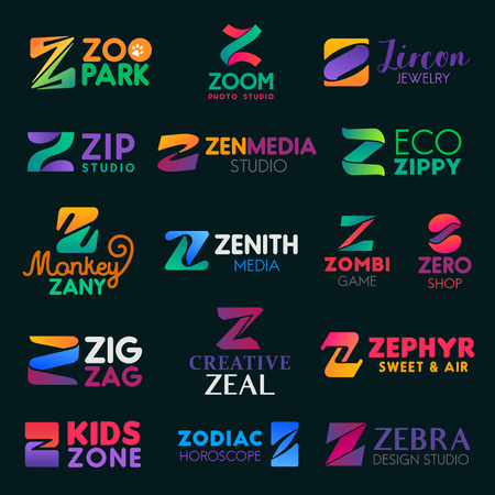 Z letter icons and signs, vector identity elements. Zoo and zoom studio, zenith and zen media, zombie game and shop, zig zag, zephyr sweets and zodiac, kids zone and zebra, zany monkey Illustration