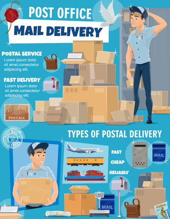 Post office delivery service, vector. Postage logistic, postman courier and packed boxes delivered by air, ship, land. Mailman in post office with letters and parcels, postal worker carry mails