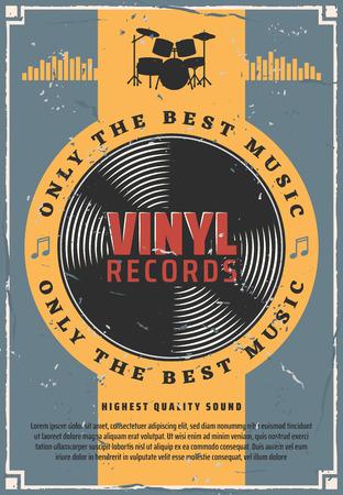 Vinyl neemt retro muziekposter op. Ouderwetse platenschijf voor grammofoonapparaat. Vintage vector drums silhouet met bas, gescheurde vloer en bekkens, hi-hat en snare of zijtrommel muziekinstrument