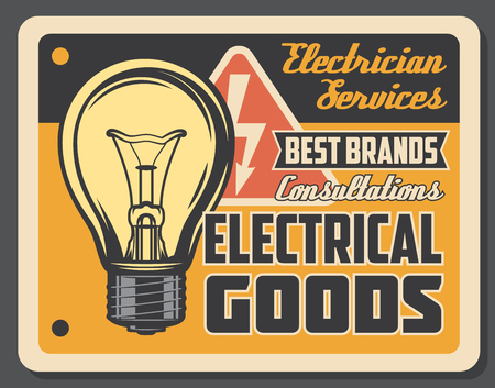 Electrician services and electrical goods retro poster, light bulb and electricity sign. Wiring works and light adjustment. Shop with electrical accessories and consultations. Vector signboard Çizim