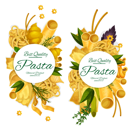 Pasta and herbs, macaroni and spaghetti of hard sorts. Main Italian cuisine, vector penne and farfalle, ravioli, lasagna and fettuccine, rigatoni, gnocchi and conchiglie, basil and arugula Illustration