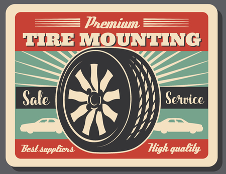 Tire mounting suppliers and service, vector tire and car icons. Vulcanization and balancing, change of rubber in workshop. Car service industry , wheels and tires repairing shop Illusztráció
