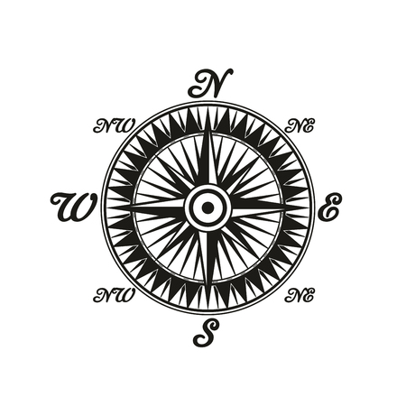 Compass dial vintage monochrome icon with letters meaning world sides. Rose of wind old-fashioned sea navigation device. Retro orientation symbol with special markup vector isolated symbol Иллюстрация