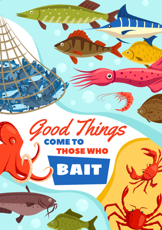 Fishing club, catching fish by bait vector. Seafood squid and octopus, crab and shrimp, carp fish marlin and perch, pike and trout, bream and tuna vector fishing hobby outdoor activity