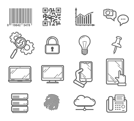 Business and technology vector icons. Barcode, message chat, search sign and security lock, smartphone gadgets and notebook display, storage cloud and fingerprint, fax machine and folders
