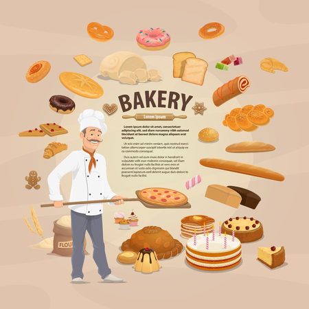 Vector bakery, bread and cakes around baker. Pastry products, delicious confectionery cakes and cupcakes, bagel and croissant, baguette and wheat and rye loaves of bread, patisserie products