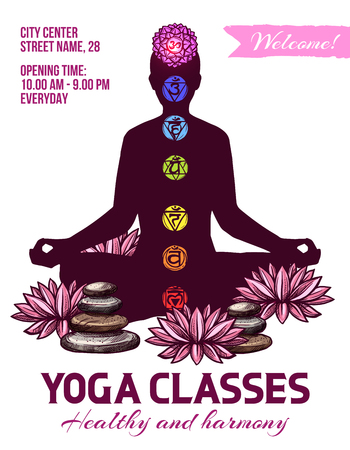 Yoga invitation poster. Vector human silhouette in lotus pose, spiritual symbols chakras, aum and lotus flower and stones to deepen meditation. Recreation at yoga classes, spiritual ayurvedic signs