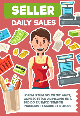 Seller profession, woman cashier. Dollar bills and credit card, cash machine and gold coins, check and pack of supermarket products. Vacancy of shop assistant, hiring seller, recruiting theme. Vector