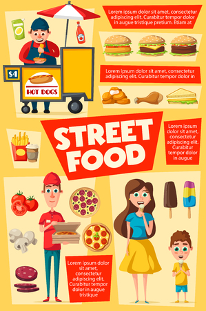 Street food, vendor selling fastfood. Pizza delivery service and hot dog, snacks as french fries and hamburgers, cheeseburgers and sandwich. Mother and son eating sweet ice cream. Vector design