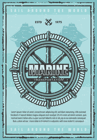 Marine transportation, big wooden helm and strong rope. Large old ship silhouettes on nautical leaflet. Sail around world unforgettable voyage vector handwheel or steering wheel