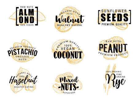 Exotic nuts lettering vector icons. Almond and coconut, peanut and hazelnut, sunflower seeds and pistachio, walnut and rye grains. Mixed nuts in shell, vector