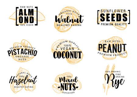 Exotische Nüsse, die Vektorikonen beschriften. Mandel und Kokosnuss, Erdnuss und Haselnuss, Sonnenblumenkerne und Pistazien-, Walnuss- und Roggenkörner. Gemischte Nüsse in der Schale, Vektor