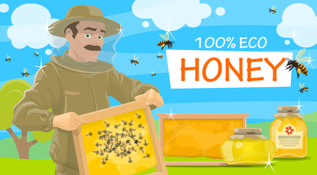 Honey beekeeper in protective outfit holding honeycomb in hands. Jars of natural honey and flying bees vector. Beemaster or beekeeper at apiary taking honey, leaflet for beekeeping farm theme Vettoriali