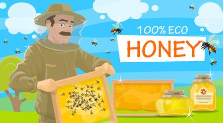 Apicultor de miel en traje protector con panal en las manos. Frascos de miel natural y vector de abejas voladoras. Beemaster o apicultor en colmenar tomando miel, folleto para el tema de la granja apícola