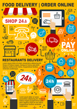 Food delivery service. Order and pay online, mobile shopping food and drink icons. Buy products via Internet, 24h calls. Web shop and takeaway snacks hamburger and pizza, car and phone. Vector design Illusztráció