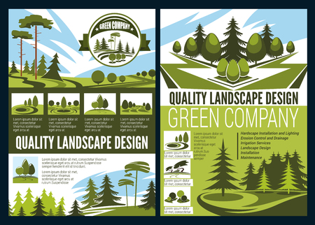 Landscape design, green area in natural environment. Vector green parks, landscape and garden architecture advert, services on planning environmental sustainability, botany and gardening