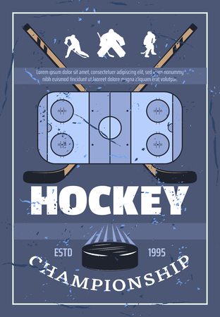 Ice hockey championship retro poster. Playing field, crossed sticks, athletic players and washer symbols of game. Vector hockey league professional equipment and players silhouettes Иллюстрация