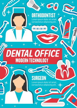 Dental medicine, surgeon and orthodontist. Dentistry tools, medications and dentists. Prosthetic and orthodontic service vector icons of implant, toothpaste, pliers, smile and pills